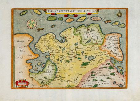 Antique Maps, Ortelius, Germany, Lower Saxony, East Frisia, 1580 or 1589: Frisiae Orientalis Descriptio