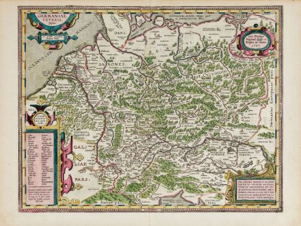 Antique Maps, Ortelius, Germany, 1603: Germaniae Veteris, Typus.