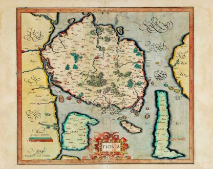 Antique Maps, Mercator, Denmark, Fyn, 1595-1602: Fionia
