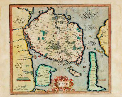 Antique Maps, Mercator, Denmark, Fyn, 1595 or 1602: Fionia