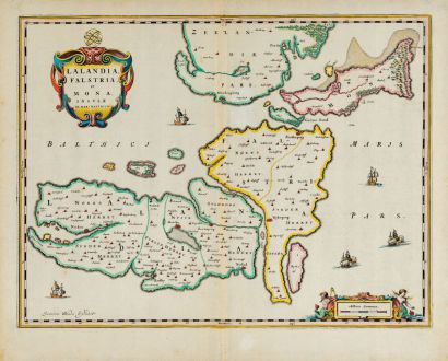 Antique Maps, Blaeu, Denmark, Lolland, Falster, Mon, 1667: Lalandia, Falstria et Mona Insulae in Mari Balthico