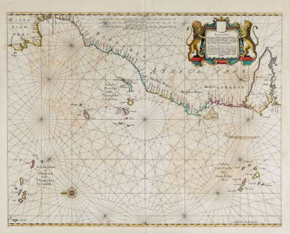 Antique Maps, Janssonius, Atlantic Ocean, 1650: Pascaart, Waer in men claarlyck zien can, alle havens rivieren droogten, gelegen tusschen C.S. Vincent en C. Verde ...