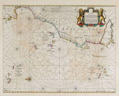 Antike Landkarten, Janssonius, Atlantik, 1650: Pascaart, Waer in men claarlyck zien can, alle havens rivieren droogten, gelegen tusschen C.S. Vincent en C. Verde ...