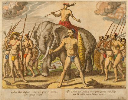 Grafiken, Linschoten, Indien, Cochin, 1638: Cochini Rex elephante vectus, cum procerum comitatu, quos Nairos vocant. / Die Coninck van Cochin op een elephant geseeten...