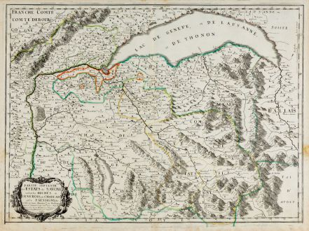 Antike Landkarten, Sanson, Schweiz, Haute-Savoie, Genfer See, 1663: Partie septentrionale des Estats de Savoye... duches de Genevois