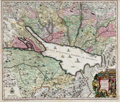 Antike Landkarten, Seutter, Deutschland, Baden-Württemberg, Bodensee, 1740: Lacus Bodamicus vel Acronius cum regionibus circumjacentibus recens delineatus a Matthaeo Seuttero, Sac. Caes. Maj. Geogr....
