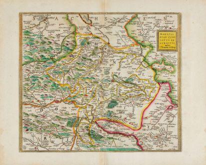 Antike Landkarten, Ortelius, Deutschland, Sachsen-Anhalt, Mansfeld, 1606: Mansfeldiae Comitatus Descriptio Auctore, Tilemanno Stella Sig.