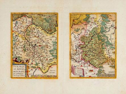 Antique Maps, Ortelius, Germany, Thuringia, Saxony, 1592: Turingia Noviss. Descript. per Iohannem Mellinger Halens / Misniae et Lusatiae Tabula Descripta a M. Bartholemeo Sculteto...