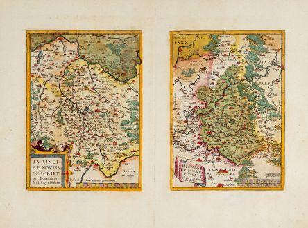 Antique Maps, Ortelius, Germany, Thuringia, Saxony, 1592: Turingiae Noviss. Descript. per Iohannem Mellinger Halens / Misniae et Lusatiae Tabula Descripta a M. Bartholemeo Sculteto...
