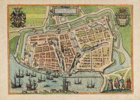 Antike Landkarten, Braun & Hogenberg, Deutschland, Niedersachsen, Emden, 1576: Embdena, Embden urbs Frisiae orientalis primaria.