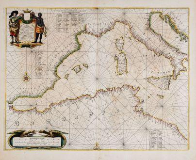 Antike Landkarten, Janssonius, Mittelmeer, Mittelmeer, 1650: Pascaarte Van't Westlyckste deel vande Middelandsche Zee [&] Pascaarte Van't Oostelyckste deel vande Middelandsche Zee