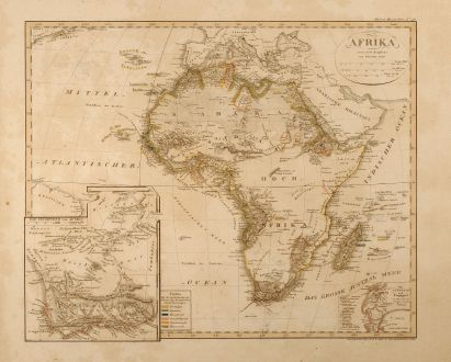 Antike Landkarten, Stieler, Afrika Kontinent, 1828: Afrika