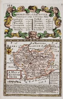 Antique Maps, Owen & Bowen, British Isles, England, Leicestershire, 1753: The Road from Hereford to Leicester: A Map of Leicester Shire