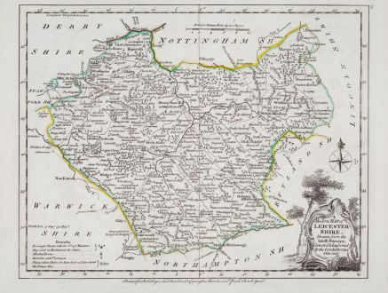 Antique Maps, Ellis, British Islands, England, Leicestershire, 1764-68: A Modern Map Of Leicestershire, Drawn From The Latest Surveys