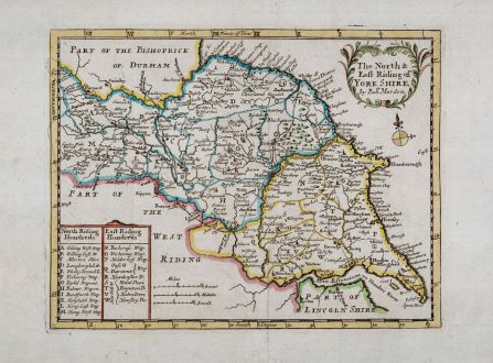 Antique Maps, Morden, British Isles, England, Yorkshire, 1701: The North & East Riding of Yorkshire by Rob. Morden.