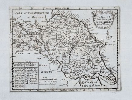 Antike Landkarten, Morden, Britische Inseln, England, Yorkshire, 1701: The North & East Riding of Yorkshire by Rob. Morden.