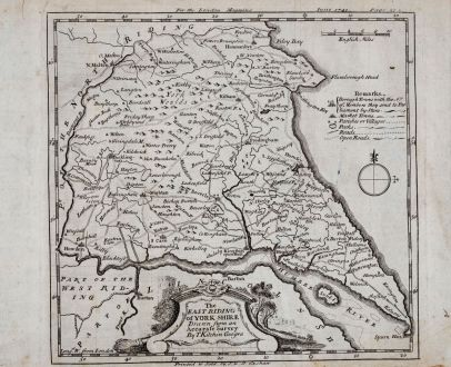 Antique Maps, Kitchin, British Isles, England, Yorkshire, 1749: The North & East Riding of Yorkshire by Rob. Morden.