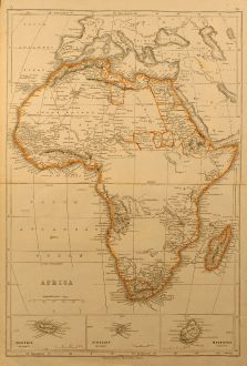 Antike Landkarten, Chapman and Hall, Afrika Kontinent, 1844: Africa