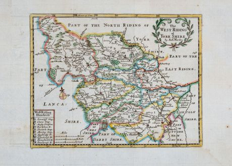 Antique Maps, Morden, British Isles, England, Yorkshire, 1701: The West Riding of York Shire by Rob. Morden.