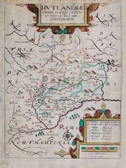 Antique Maps, Kip, British Isles, England, Rutland, 1607 (1637): Rutlandiae, Omnium in Anglia Comitatu, um minimus Pars olim Coritanorum