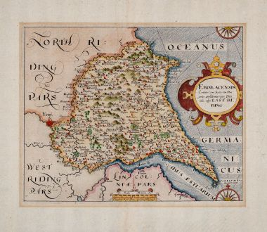 Antique Maps, Kip, British Isles, England, Yorkshire, 1607 (1610): Eboracensis Comitatus pars Orientalis, vulgo East Riding