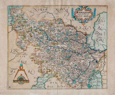 Antique Maps, Kip, British Isles, England, Yorkshire, 1607 (1637): Eboracensis Comitatus pars Occidentalis vulgo West Riding
