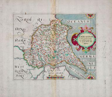 Antike Landkarten, Kip, Britische Inseln, England, Yorkshire, 1607 (1610): Eboracensis Comitatus pars Orientalis, vulgo East Riding