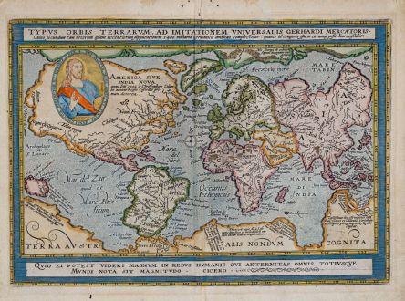 Antike Landkarten, Quad, Weltkarte, 1596 (1608): Typus Orbis Terrarum Ad Imitationem Universalis Gerhardi Mercatoris…