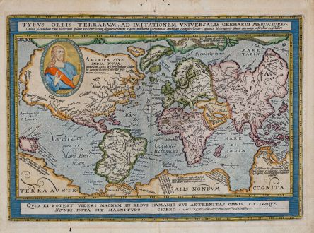 Antique Maps, Quad, World Maps, 1596 (1608): Typus Orbis Terrarum Ad Imitationem Universalis Gerhardi Mercatoris…