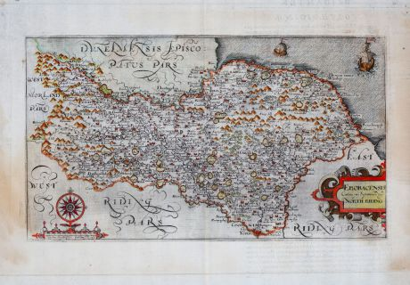 Antique Maps, Kip, British Islands, England, Yorkshire, 1607: Eboracensis Comitatus pars Septentrionalis, vulgo North Riding