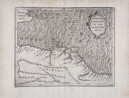Antike Landkarten, Wytfliet, Mittelamerika - Karibik, Venezuela und der Karibik: Residuum Continentis Cum Adiacentibus Insulis.