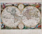 Coloured map of the world. Printed in Amsterdam by Visscher in 1663.