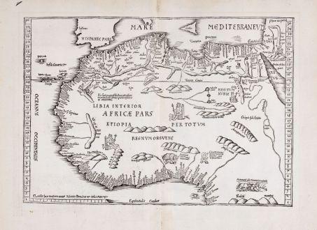 Antike Landkarten, Fries, Nordafrika, 1525: [Tab. Mo. Primae Partis Aphricae et Tabula Secunde partis Aphricae.]