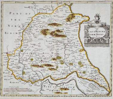 Antique Maps, Morden, British Isles, England, Yorkshire, 1722: The East Riding of Yorkshire by Robert Morden.