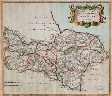 Antique Maps, Morden, British Isles, England, Yorkshire, North Riding, 1695: The North Riding of Yorkshire by Rob. Morden.