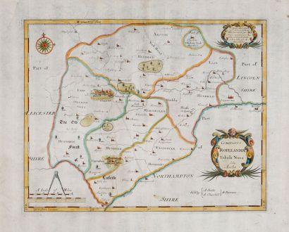Antique Maps, Morden, British Islands, England, Rutland, 1695: Comitatus Rotelandiae tabula Nova & Aucta.