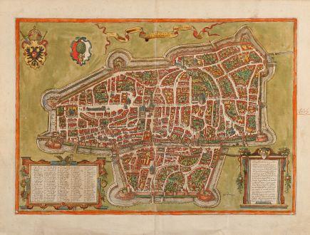 Antike Landkarten, Braun & Hogenberg, Deutschland, Augsburg, 1572: Augusta iuxta figuram quam his ce temporibus habet delineata