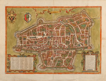 Antique Maps, Braun & Hogenberg, Germany, Augsburg, 1572: Augusta iuxta figuram quam his ce temporibus habet delineata