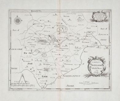 Antike Landkarten, Morden, Britische Inseln, England, Rutland, 1695: Comitatus Rotelandiae tabula Nova & Aucta.