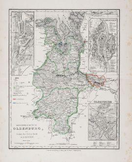 Antike Landkarten, Bibliographisches Institut, Deutschland, Niedersachsen, Oldenburg: Grossherzogthum Oldenburg und Gebiet der freien Stadt Bremen.