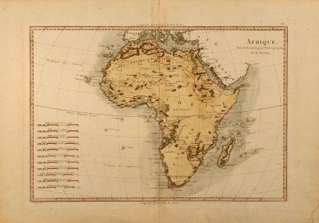 Antike Landkarten, Bonne, Afrika Kontinent, 1780: Afrique