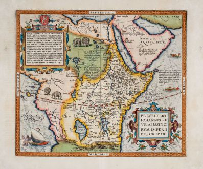 Antike Landkarten, Ortelius, Afrika Kontinent, Zentralafrika, Äthiopien, 1603: Presbiteri Iohannis, sive, Abissinorum Imperii Descriptio