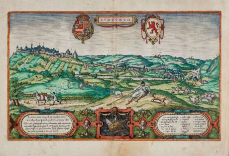 Antike Landkarten, Braun & Hogenberg, Benelux, Belgien, Limburg, Limbourg, 1575: Lympurch