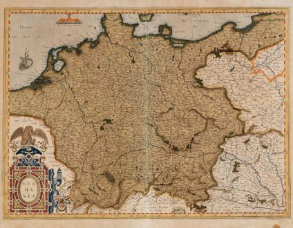 Antique Maps, Mercator, Germany, 1585 or 1595: Germania