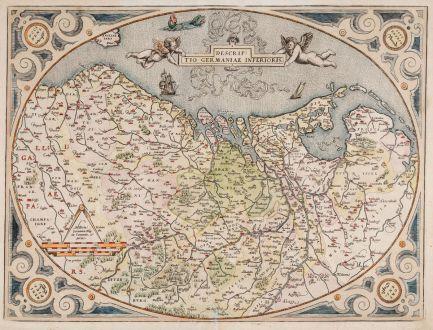 Antike Landkarten, Ortelius, Benelux, Niederlande, Belgien, 1575: Descriptio Germaniae Inferioris