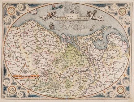 Antique Maps, Ortelius, Low Countries, Netherlands, Belgium, 1575: Descriptio Germaniae Inferioris