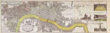 Antique Maps, Homann Erben, British Isles, England, London, 1736: Urbium Londini et West-Monasterii nec non Surburbii Southwark... Neuester Grundris der Staedte London und West-Münster,...