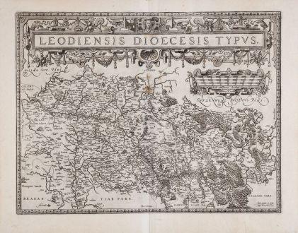 Antike Landkarten, Ortelius, Benelux, Belgien, 1598: Kein Titel