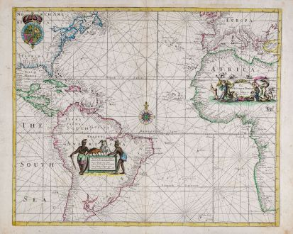 Antique Maps, Seller, Atlantic Ocean, 1686 (1710): The Western Ocean By Jer Seller and Cha Price