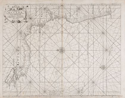Antique Maps, Seller, West Africa, Guinea, 1677-79: A Chart of Guinea. Describing the Sea Coast from Cape de Verde to Cape de Bona Espransa
